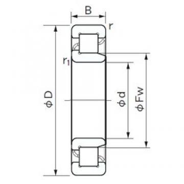 90 mm x 190 mm x 64 mm  NACHI NJ 2318 cylindrical roller bearings